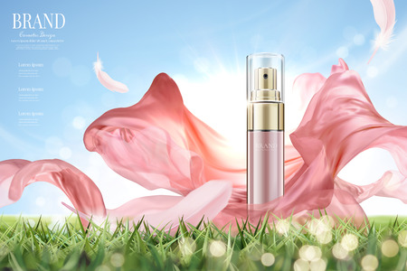 Illustration pour Cosmetic spray ads with flying pink chiffon in 3d illustration, product on grassland and clear blue sky background - image libre de droit