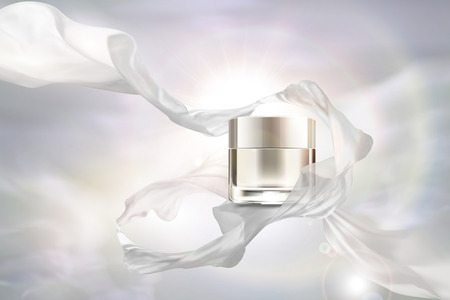 Illustration pour Blank pearl white cream jar with flying chiffon on 3d illustration - image libre de droit