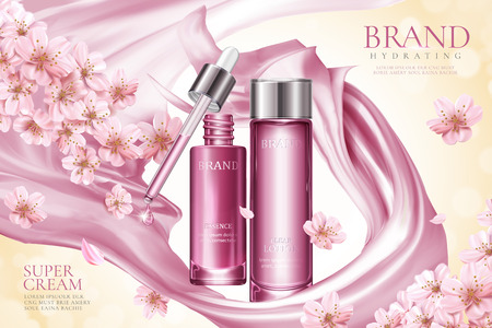Illustration pour Sakura skincare product ads with pink smooth satin and floral elements in 3d illustration - image libre de droit