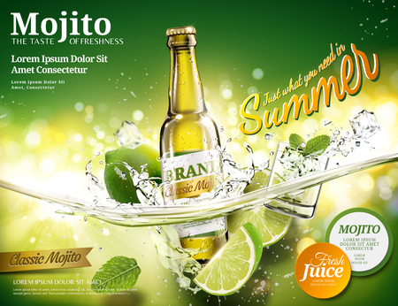 Illustration pour Refreshing mojito ads with a bottle of beverage dropping into transparent liquid in 3d illustration, green bokeh background - image libre de droit