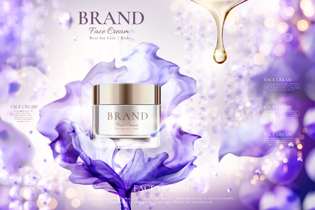 Illustration pour Luxury face cream jar ads with flying purple chiffon effect on shimmering bokeh background, 3d illustration - image libre de droit