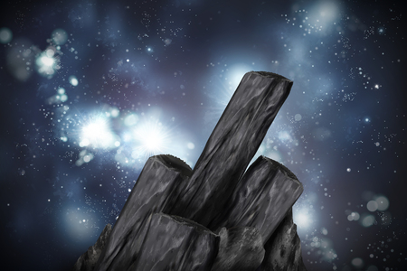 Bamboo charcoal elements on glittering universe background in 3d illustration