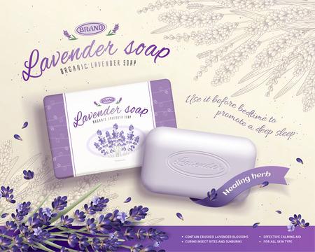 Illustration pour Lavender soap ads with blooming flowers ingredients in 3d illustration, engraved floral background - image libre de droit