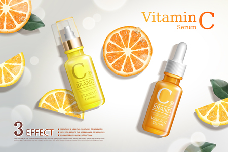 Vitamin C serum ads with refreshing citrus sections and droplet bottle in 3d illustration, top view