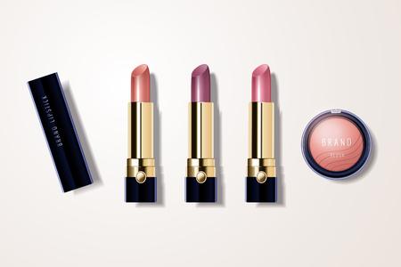 Illustration pour Make up mockup set with lipstick and blush in 3d illustration - image libre de droit