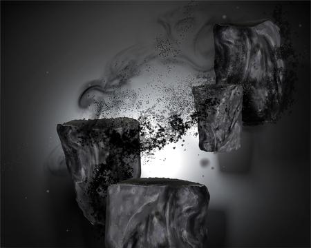 Illustration pour Bamboo charcoal elements with ashes in 3d illustration - image libre de droit