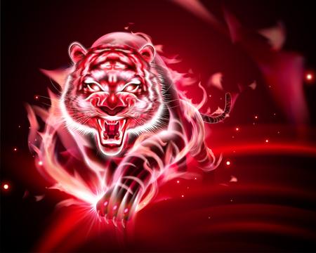 Illustration pour Vicious tiger with red burning flame in 3d illustration - image libre de droit