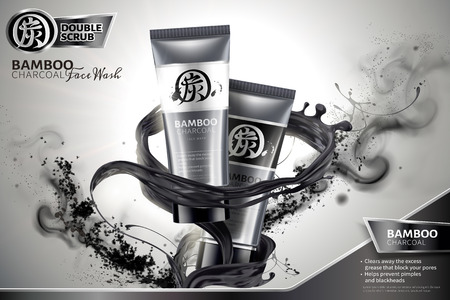 Bamboo charcoal face wash ads with black liquid and ashes swirling in the air in 3d illustration, Carbon in Chinese word on package and upper left