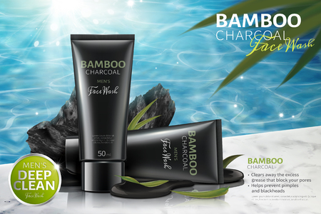 Illustration pour Bamboo charcoal face wash ads with carbons on poolside in 3d illustration - image libre de droit