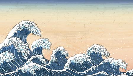 Retro Japan wave tides in Ukiyo-e style