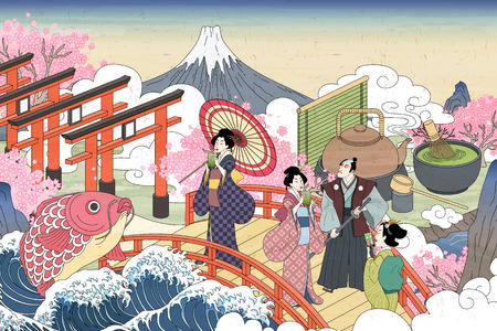 Illustration pour Retro Japan scenery in Ukiyo-e style, people carrying enjoying their green tea on the bridge - image libre de droit