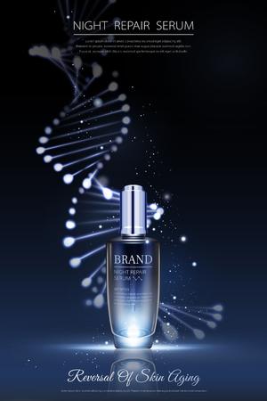 Illustration pour Night repair serum ads with neon helix background in 3d illustration - image libre de droit