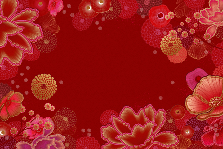 Illustration pour Luxury floral frame background in red and fuchsia tone - image libre de droit