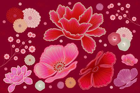 Illustration pour Fluorescent pink and fuchsia floral design element - image libre de droit