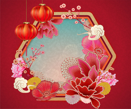 Illustration pour Traditional chinese background with peony and lanterns elements in red tone - image libre de droit