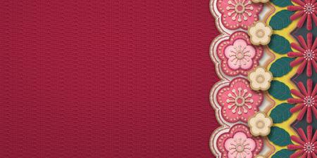Illustration pour Embroidery plum flower and chrysanthemum frame banner - image libre de droit
