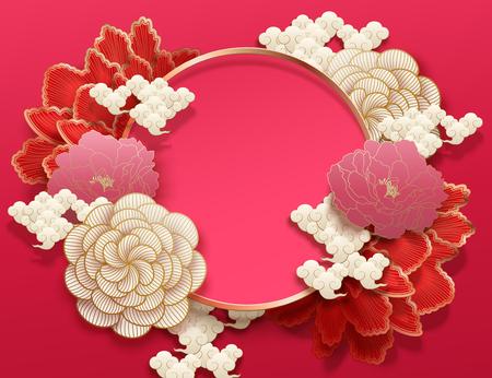 Illustration pour Fuchsia color background with elegant peony flowers in paper art style - image libre de droit
