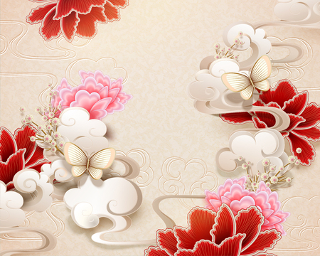 Illustration pour Elegant peony and butterfly background in paper art style - image libre de droit