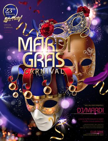Illustration pour Mardi gras carnival design with clown mask in 3d illustration on bokeh purple glittering background - image libre de droit