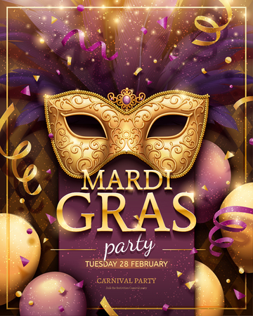Mardi gras party poster with golden mask and confetti decorations in 3d illustration