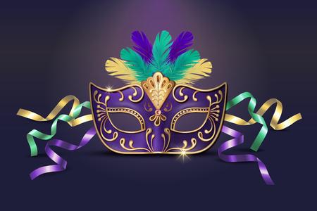 Ilustración de Masquerade decorative purple mask in 3d illustration - Imagen libre de derechos