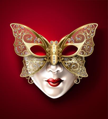 Illustration for Golden butterfly carnival mask in 3d illustration - Royalty Free Image