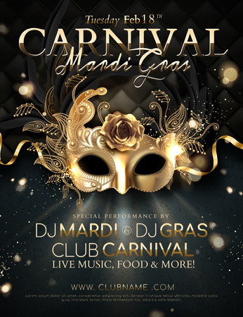 Mardi gras carnival poster design with golden mask and ribbons in 3d illustration