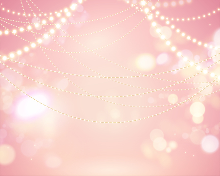 Illustration pour Glittering bokeh pink background with lighting bulbs decoration - image libre de droit