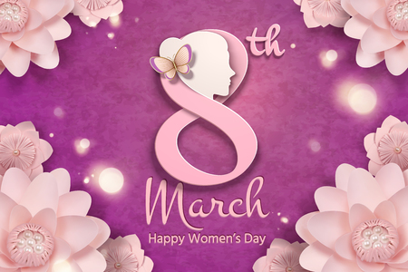 Illustration pour March 8 women's day with woman's head and pink flowers frame in paper craft style - image libre de droit