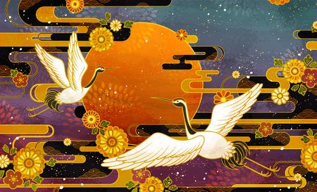 Ilustración de Japanese traditional crane bird and chrysanthemum pattern design - Imagen libre de derechos