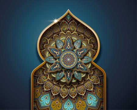 Illustration pour Arabesque pattern design in onion dome and arch shape on blue background - image libre de droit