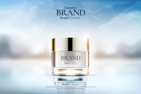 Illustration for Cream jar cosmetic ads on clear bokeh background in 3d illustration - Royalty Free Image