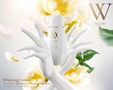 Ilustración de Whitening cream ads with white hand and flowers in 3d illustration - Imagen libre de derechos