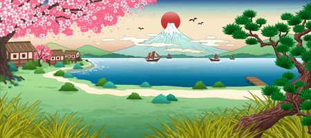 Illustration for Ukiyo e fuji mountain scenery with beautiful lake - Royalty Free Image