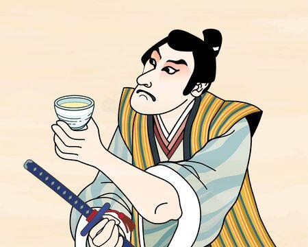 Illustration pour Ukiyo e style kabuki actor enjoying sake - image libre de droit