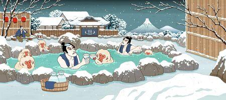 Illustration pour Japanese ukiyo-e style men and cute monkey enjoying outdoor hot spring and sake, beautiful winter snowy scenery - image libre de droit