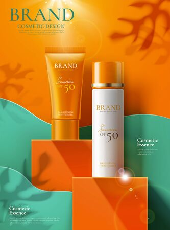 Illustration pour Sunscreen product ads on orange square podium and paper art background in 3d illustration - image libre de droit