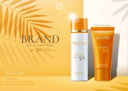 Ilustración de Sunscreen products set ads with summer palm leaves shadows on chrome yellow background in 3d illustration - Imagen libre de derechos