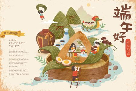 Illustration pour Miniature people wrapping zongzi upon bamboo steamer and floating on river, Happy Dragon Boat Festival and May 5th written in Chinese words - image libre de droit