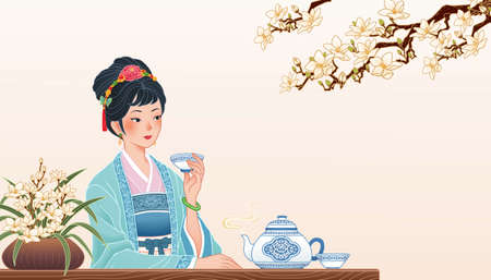 Illustration pour Ancient Chinese girl sitting at table and enjoying a cup of hot tea, banner in flat design with copyspace - image libre de droit
