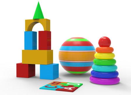 Photo pour childrens toys of simple shape, ball, pyramid 3d-illustration 3d-rendering - image libre de droit