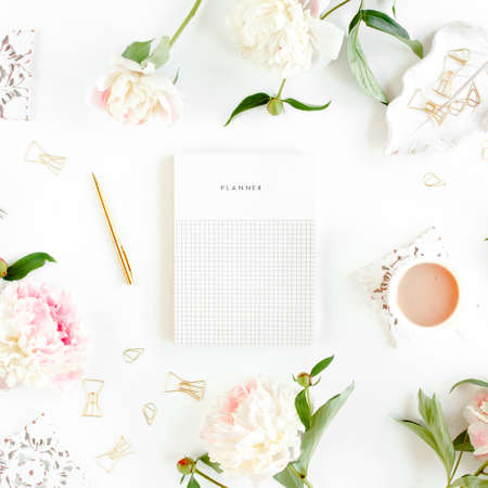 Photo for Workspace with diary, notebook, accessories, peony flowers on white background. Home office desk. Top view feminine background. Flat lay, top view. - Royalty Free Image