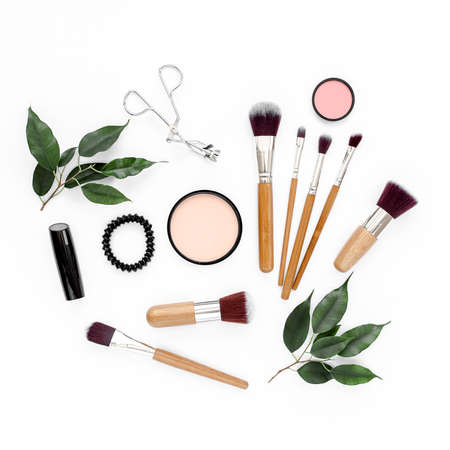 Photo for Professional makeup tools. Makeup tools brushes. Flat composition. magazines, social media. Top view. Flat lay. - Royalty Free Image