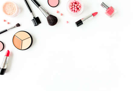 Photo for Professional decorative cosmetics, makeup tools on white background with copy space for text. Flat composition beauty, fashion. flat lay, top view - Royalty Free Image