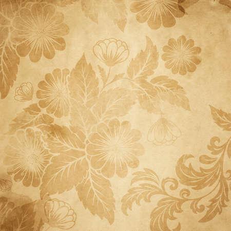 Photo pour Old paper with floral vintage pattern. - image libre de droit