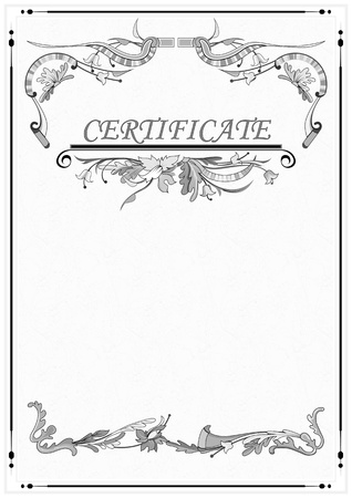 Blank with floral patterns. The certificate. The background for the text.