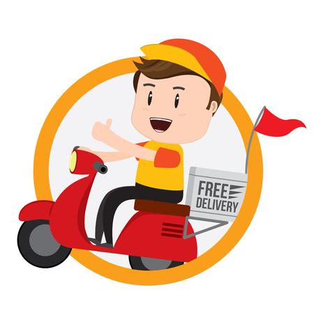 Ilustración de Delivery Boy Ride Scooter Motorcycle Service, Shipping, Fast Transport, Vector - Imagen libre de derechos