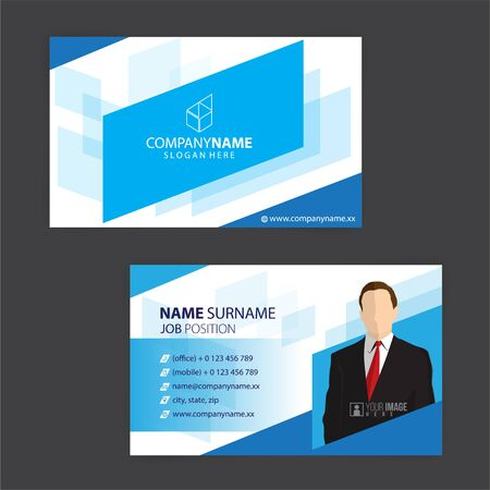 Illustration for blue and white business cards design, vector - Royalty Free Image