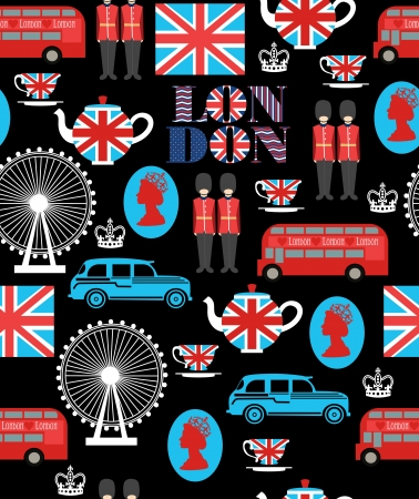London cab, queen, and tea pattern