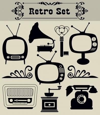 Foto de retro objects set  vector illustration - Imagen libre de derechos